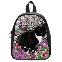 Freckles In Flowers Ii, Black White Tux Cat School Bags (small)  by DianeClancy
