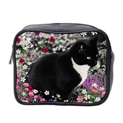 Freckles In Flowers Ii, Black White Tux Cat Mini Toiletries Bag 2 Side by DianeClancy
