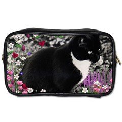 Freckles In Flowers Ii, Black White Tux Cat Toiletries Bags 2 Side by DianeClancy