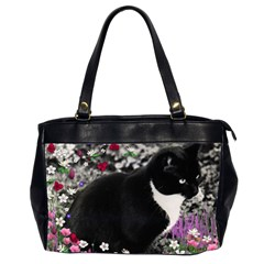 Freckles In Flowers Ii, Black White Tux Cat Office Handbags (2 Sides)  by DianeClancy