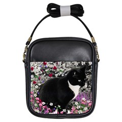 Freckles In Flowers Ii, Black White Tux Cat Girls Sling Bags by DianeClancy