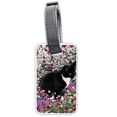 Freckles In Flowers Ii, Black White Tux Cat Luggage Tags (two Sides) by DianeClancy