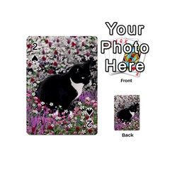 Freckles In Flowers Ii, Black White Tux Cat Playing Cards 54 (mini)  by DianeClancy