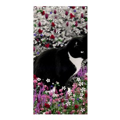Freckles In Flowers Ii, Black White Tux Cat Shower Curtain 36  X 72  (stall)  by DianeClancy