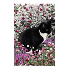 Freckles In Flowers Ii, Black White Tux Cat Shower Curtain 48  X 72  (small)  by DianeClancy