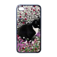 Freckles In Flowers Ii, Black White Tux Cat Apple Iphone 4 Case (black) by DianeClancy