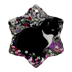 Freckles In Flowers Ii, Black White Tux Cat Snowflake Ornament (2 Side) by DianeClancy