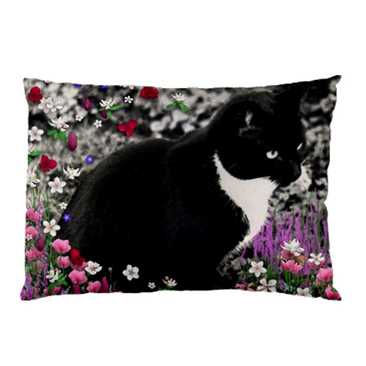 Freckles In Flowers Ii, Black White Tux Cat Pillow Case (Two Sides)