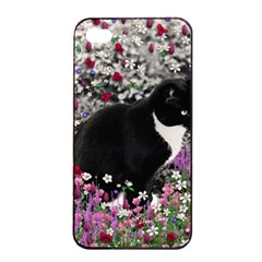 Freckles In Flowers Ii, Black White Tux Cat Apple Iphone 4/4s Seamless Case (black) by DianeClancy