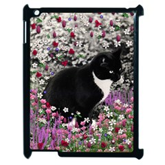 Freckles In Flowers Ii, Black White Tux Cat Apple Ipad 2 Case (black) by DianeClancy