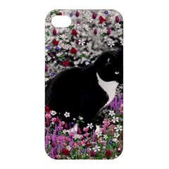 Freckles In Flowers Ii, Black White Tux Cat Apple Iphone 4/4s Hardshell Case by DianeClancy
