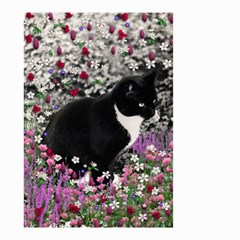 Freckles In Flowers Ii, Black White Tux Cat Small Garden Flag (two Sides) by DianeClancy