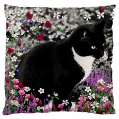 Freckles In Flowers Ii, Black White Tux Cat Large Cushion Case (one Side) by DianeClancy