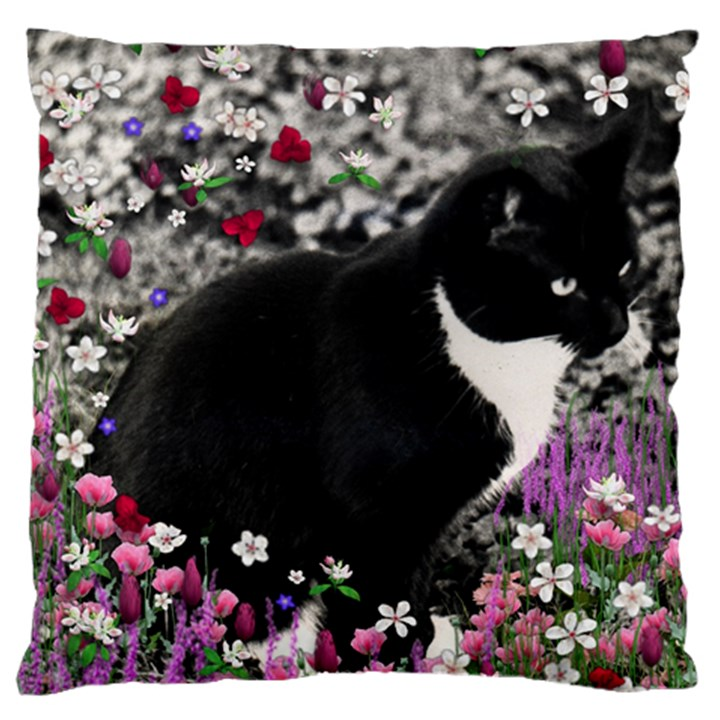 Freckles In Flowers Ii, Black White Tux Cat Large Cushion Case (Two Sides)
