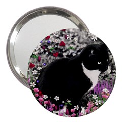 Freckles In Flowers Ii, Black White Tux Cat 3  Handbag Mirrors by DianeClancy
