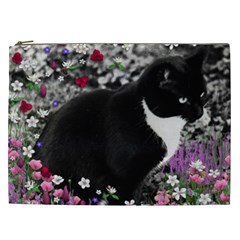 Freckles In Flowers Ii, Black White Tux Cat Cosmetic Bag (xxl)  by DianeClancy
