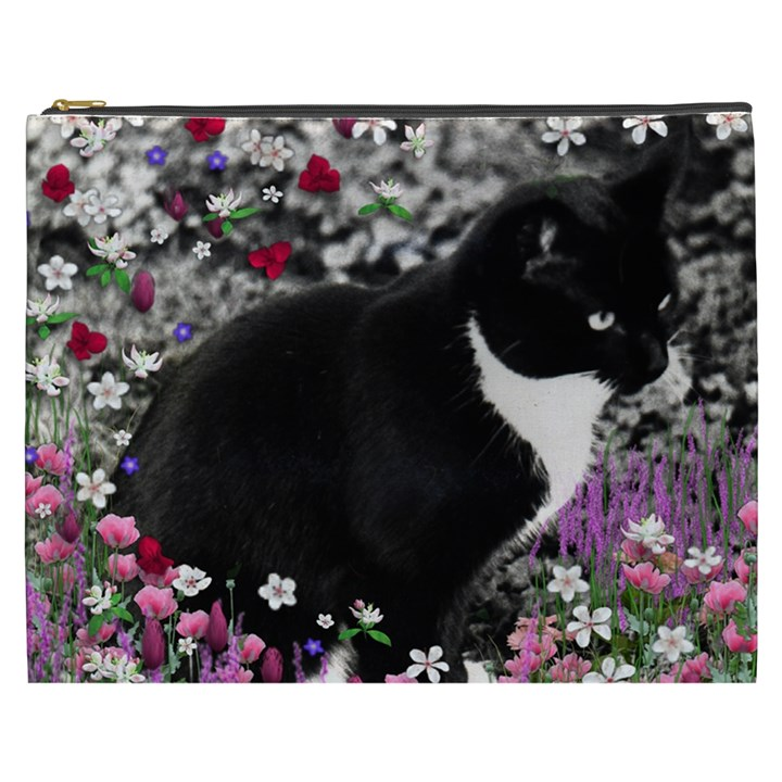 Freckles In Flowers Ii, Black White Tux Cat Cosmetic Bag (XXXL)