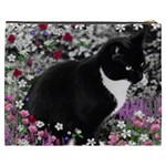 Freckles In Flowers Ii, Black White Tux Cat Cosmetic Bag (XXXL)  Back
