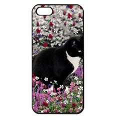 Freckles In Flowers Ii, Black White Tux Cat Apple Iphone 5 Seamless Case (black) by DianeClancy