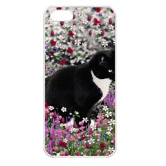 Freckles In Flowers Ii, Black White Tux Cat Apple Iphone 5 Seamless Case (white) by DianeClancy