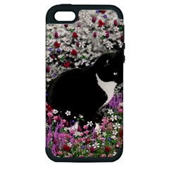 Freckles In Flowers Ii, Black White Tux Cat Apple Iphone 5 Hardshell Case (pc+silicone) by DianeClancy