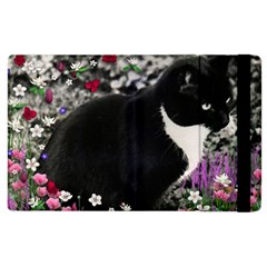 Freckles In Flowers Ii, Black White Tux Cat Apple Ipad 3/4 Flip Case by DianeClancy