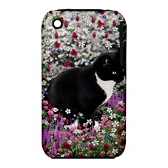 Freckles In Flowers Ii, Black White Tux Cat Apple Iphone 3g/3gs Hardshell Case (pc+silicone) by DianeClancy