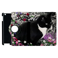 Freckles In Flowers Ii, Black White Tux Cat Apple Ipad 3/4 Flip 360 Case by DianeClancy