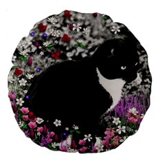 Freckles In Flowers Ii, Black White Tux Cat Large 18  Premium Round Cushions by DianeClancy