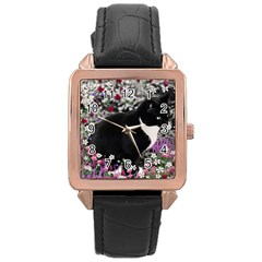 Freckles In Flowers Ii, Black White Tux Cat Rose Gold Leather Watch  by DianeClancy