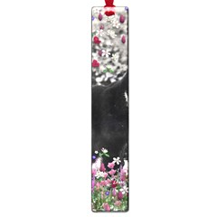 Freckles In Flowers Ii, Black White Tux Cat Large Book Marks by DianeClancy