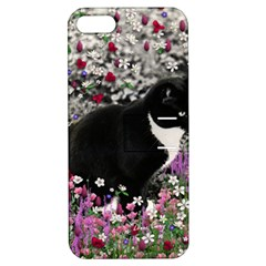 Freckles In Flowers Ii, Black White Tux Cat Apple Iphone 5 Hardshell Case With Stand by DianeClancy