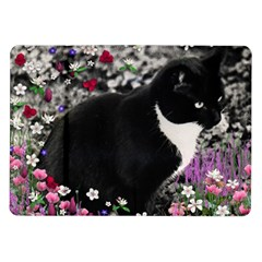 Freckles In Flowers Ii, Black White Tux Cat Samsung Galaxy Tab 10 1  P7500 Flip Case by DianeClancy
