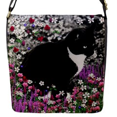 Freckles In Flowers Ii, Black White Tux Cat Flap Messenger Bag (s) by DianeClancy