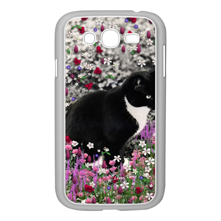 Freckles In Flowers Ii, Black White Tux Cat Samsung Galaxy Grand DUOS I9082 Case (White)