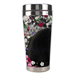 Freckles In Flowers Ii, Black White Tux Cat Stainless Steel Travel Tumblers by DianeClancy
