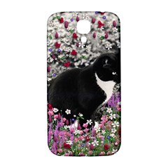 Freckles In Flowers Ii, Black White Tux Cat Samsung Galaxy S4 I9500/i9505  Hardshell Back Case by DianeClancy