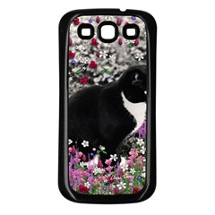 Freckles In Flowers Ii, Black White Tux Cat Samsung Galaxy S3 Back Case (black) by DianeClancy