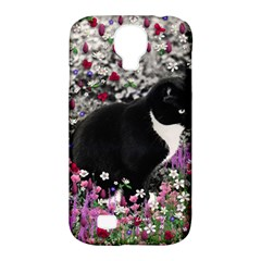 Freckles In Flowers Ii, Black White Tux Cat Samsung Galaxy S4 Classic Hardshell Case (pc+silicone) by DianeClancy