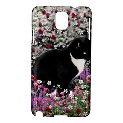Freckles In Flowers Ii, Black White Tux Cat Samsung Galaxy Note 3 N9005 Hardshell Case by DianeClancy