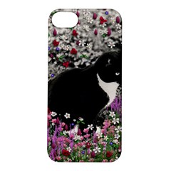 Freckles In Flowers Ii, Black White Tux Cat Apple Iphone 5s/ Se Hardshell Case by DianeClancy