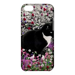 Freckles In Flowers Ii, Black White Tux Cat Apple Iphone 5c Hardshell Case by DianeClancy