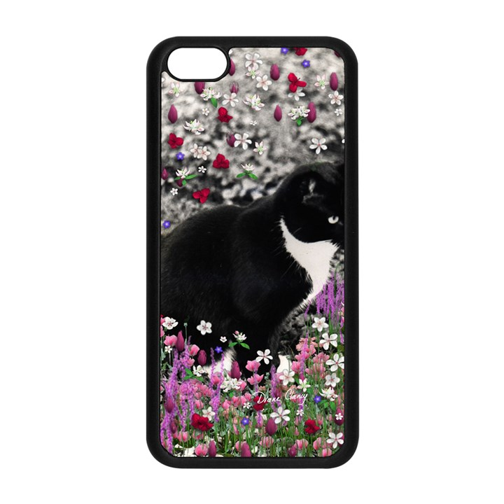 Freckles In Flowers Ii, Black White Tux Cat Apple iPhone 5C Seamless Case (Black)