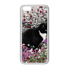 Freckles In Flowers Ii, Black White Tux Cat Apple Iphone 5c Seamless Case (white) by DianeClancy