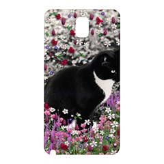 Freckles In Flowers Ii, Black White Tux Cat Samsung Galaxy Note 3 N9005 Hardshell Back Case by DianeClancy