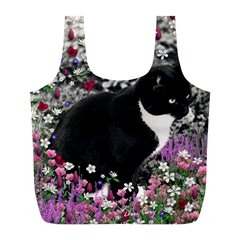Freckles In Flowers Ii, Black White Tux Cat Full Print Recycle Bags (l)  by DianeClancy