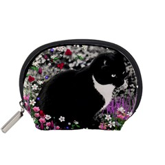 Freckles In Flowers Ii, Black White Tux Cat Accessory Pouches (small)  by DianeClancy