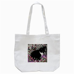 Freckles In Flowers Ii, Black White Tux Cat Tote Bag (white) by DianeClancy