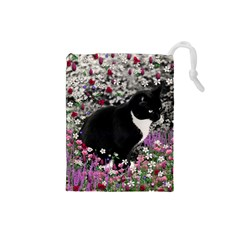 Freckles In Flowers Ii, Black White Tux Cat Drawstring Pouches (small)  by DianeClancy
