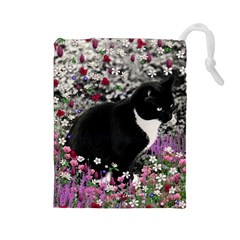 Freckles In Flowers Ii, Black White Tux Cat Drawstring Pouches (large)  by DianeClancy